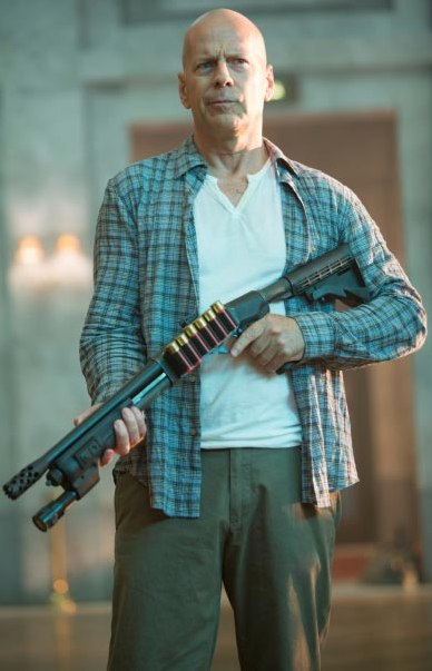 Bruce Willis with a Shotgun in A Good Day to Die Hard