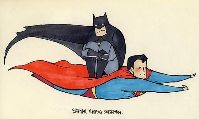 batman riding superman