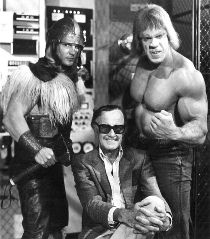 Eric-Kramer-Stan-Lee-and-Lou-Ferrigno-on-the-set-of-The-Incredible-Hulk-Returns