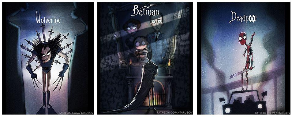 Szuperhősök Tim Burton stílusban