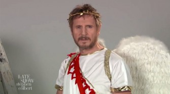 the late show with stephen colbert liam neeson cupid promo
