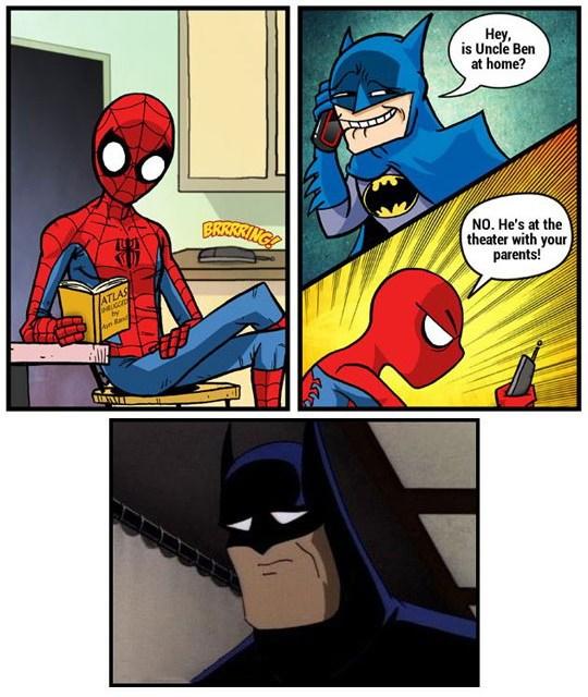 sad spidey batman