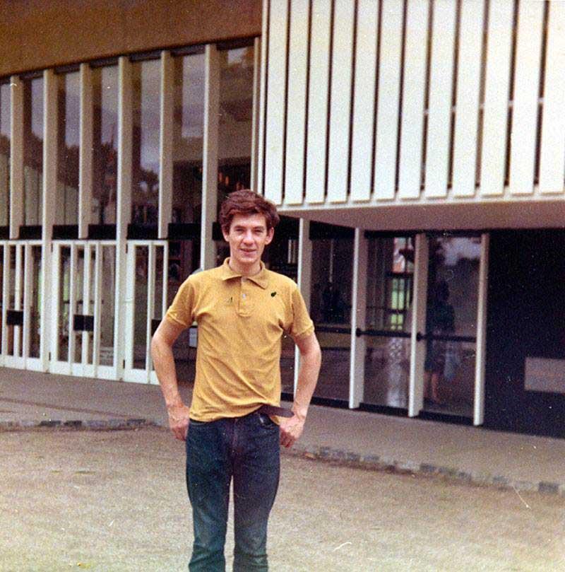 Ian McKellen outside the Chichester Festival Theatre 1965