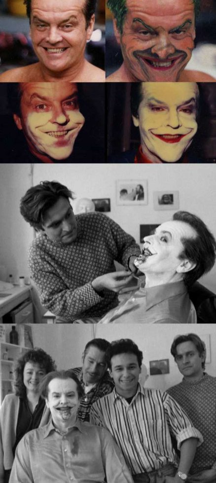 Jack Nicholson getting his makeup done to be the Joker in Batman