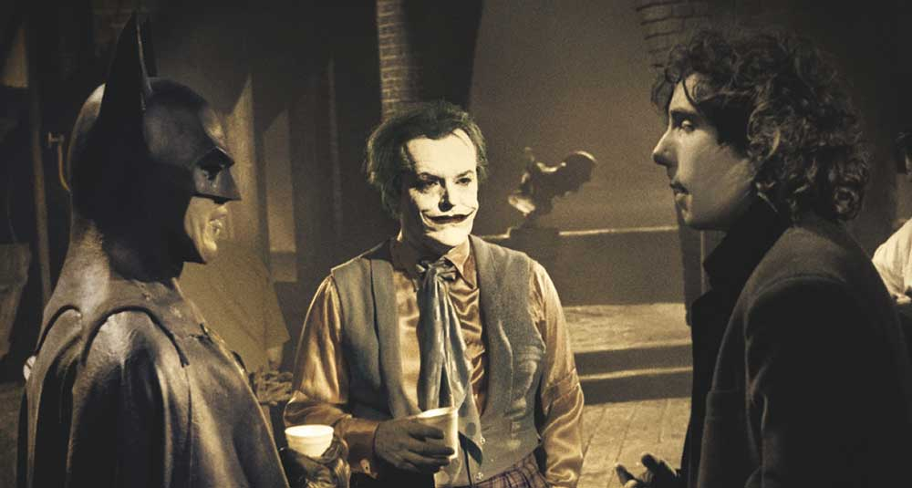Michael Keaton Jack Nicholson and Tim Burton on the set of Batman kave