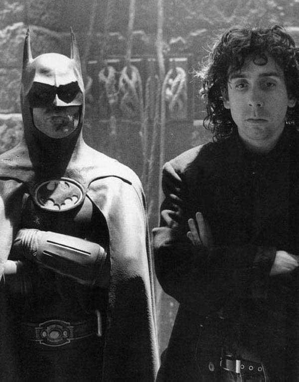 Michael Keaton Tim Burton on the set of Batman 1989.