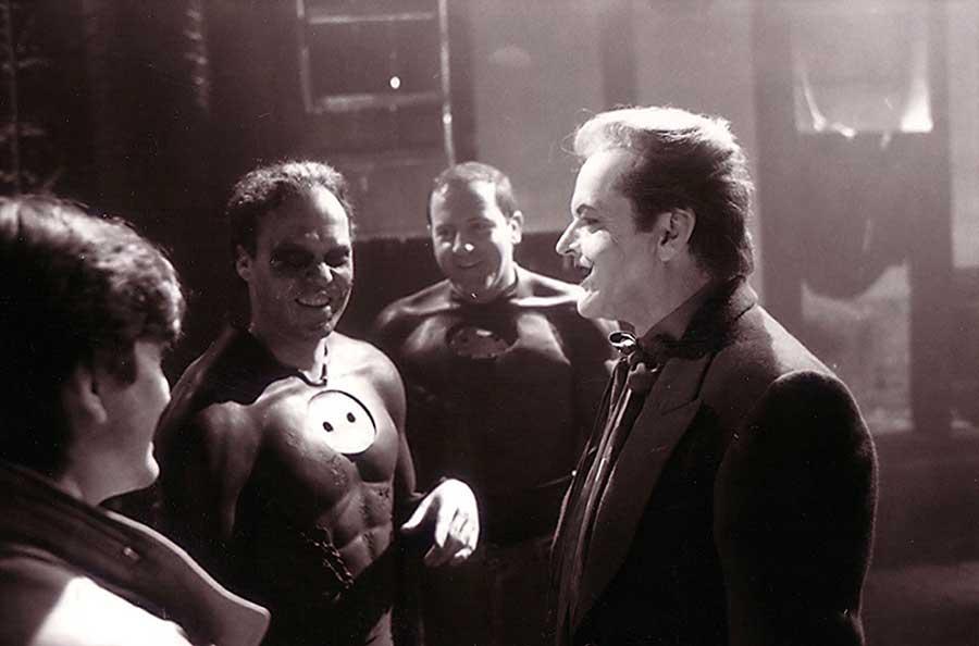 Michael Keaton and Jack Nicholson on the set of Batman