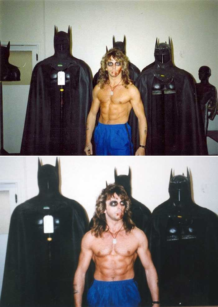 Michael Keatons stunt double Dave Lea on the set of Batman